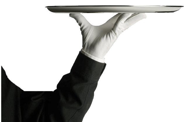 white glove serving tray