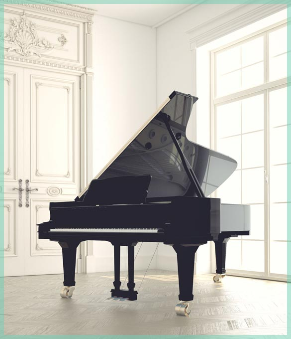 family grand piano moving and storage in our climate controlled facility   William C. Huff Companies - Moving & Storage